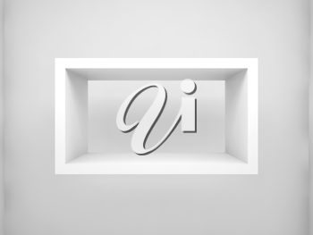 Abstract 3d design element, empty rectangle white shelf with soft shadow on the wall