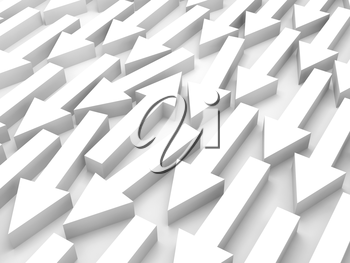 Abstract 3d illustration, one white arrow goes opposite in a group