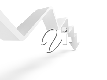 Broken trend line with arrow on the end is going down, 3d illustration isolated on white background