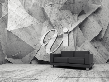Abstract interior, concrete office room with chaotic relief pattern on the wall and black leather sofa, 3d illustration