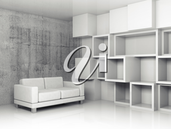 Abstract interior, concrete office room with white cubic relief decoration on the wall and black leather sofa, 3d illustration