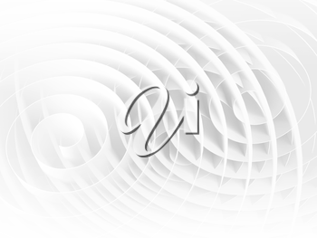 White 3d spirals with soft shadows, abstract digital illustration, background pattern