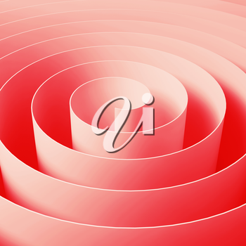 Red 3d spiral tape, abstract digital illustration, square background pattern