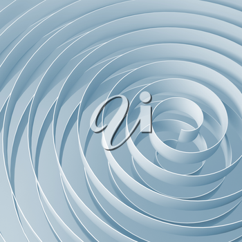 3d spirals with soft light blue shadows, abstract digital illustration, square background pattern