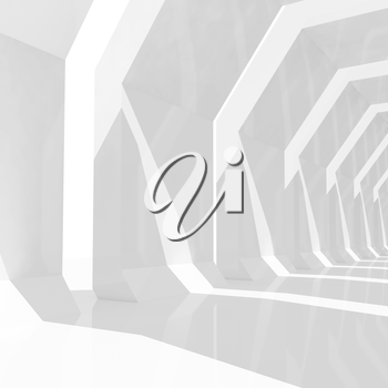 Abstract digital graphic square background with empty white shining tunnel interior perspective, 3d render illustration
