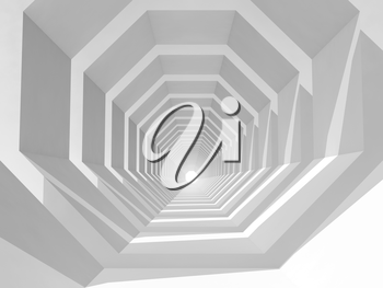 Abstract hypnotic cg background with empty white tunnel perspective, 3d illustration