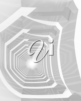 Abstract hypnotic cg background with empty white bent tunnel perspective, 3d illustration