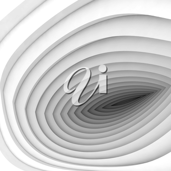 Abstract digital background, white tunnel perspective, 3d illustration