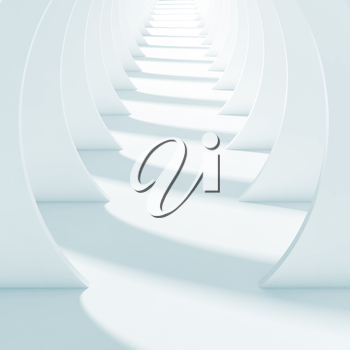 Abstract white tunnel interior. Square 3d render illustration