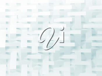 Abstract white digital background, geometric pattern, double exposure. 3d render illustration