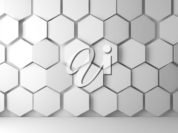 Abstract blank white interior background with hexagonal relief pattern on front wall, 3d render