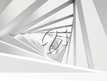 Abstract twisted tunnel background. 3d render illustration