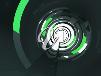 Abstract shining tunnel interior with green reflections. Digital background, 3d illustration