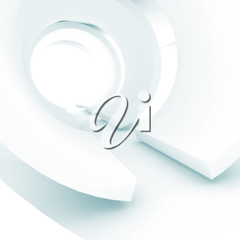 Abstract white tunnel, square soft blue toned digital background, 3d render illustration
