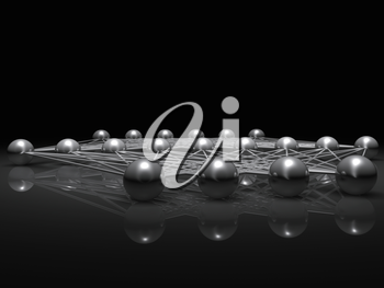 Artificial shallow neural network structure, illustration with schematic metallic model, 3d render