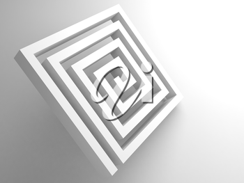 Abstract white square spiral maze object on white background, 3d render illustration