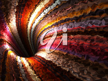 Abstract colorful digital background, empty bent triangulated tunnel, 3d render illustration
