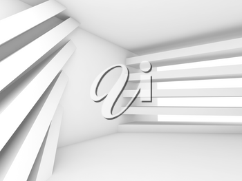 Abstract empty interior background. White room with pattern of stripe beams, 3d illustration