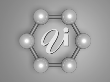 H-Graphene aromatic cluster, top view. Hexagonal structure made of carbon atoms. 3d illustration