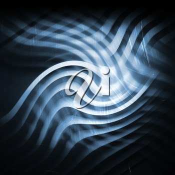Abstract dark blue square background, pattern with bent glowing stripes. 3d render illustration