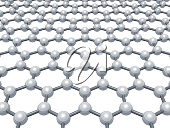 Graphene layer, schematic molecular model of hexagonal lattice isolated on white background, 3d render illustration