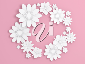 White paper flowers decoration over light pink backdrop, bridal greeting card, ornamental background. Digital 3d render illustration