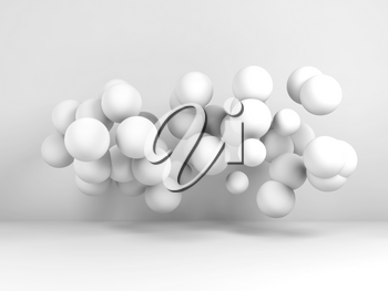 Cloud of spheres flying in abstract white room. Digital background, 3d render illustration