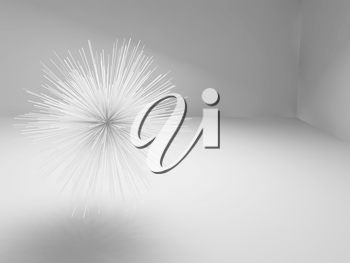 Abstract sharp star shaped white object flying in empty room, 3d illustration