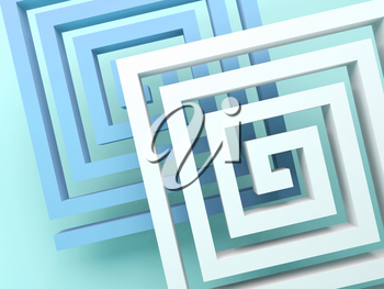 Abstract square spirals over blue green background, 3d render illustration