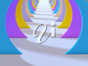 Abstract colorful tunnel interior with white floor. 3d illustration