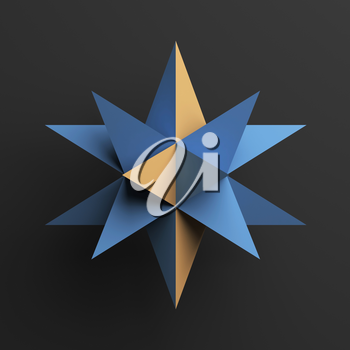 Abstract blue star object with yellow polygons over dark gray background, 3d render illustration