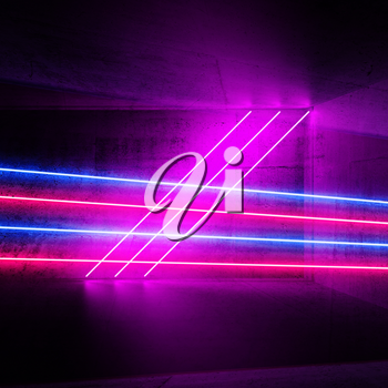 Abstract square digital graphic background with glowing colorful neon light lines, 3d render illustration