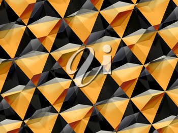Abstract yellow black geometric pattern, double exposure polygonal background, 3d render illustration