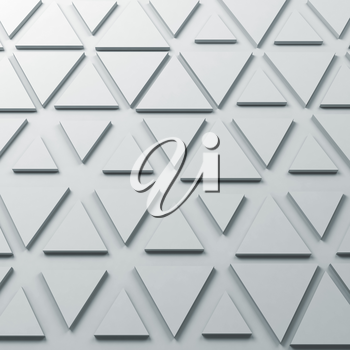 Abstract monochrome square digital background with triangles relief pattern on wall, 3d render illustration