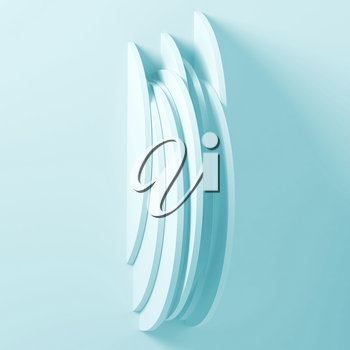 Minimal round installation on empty wall, Blue toned square 3d render illustration