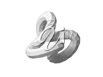 Torus knot low-poly geometrical representation. Abstract object isolated on white background. Graphite pencil stylized 3d rendering illustration