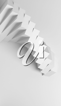 Abstract white geometric background with parametric spiral installation of boxes, vertical 3d rendering illustration