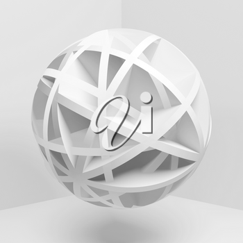 Abstract white spherical object flying in empty room, square 3d rendering illustration