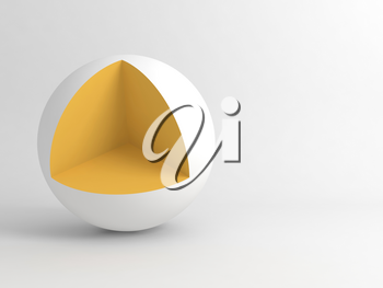 Abstract digital minimal installation, white sphere with cubical cut sector corner. 3d rendering illustration