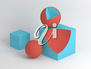 Abstract digital still life installation with red blue geometric shapes over white soft shaded background. Subtract Boolean operation illustration. 3d rendering