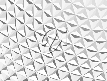 Abstract geometric background with parametric white mosaic surface pattern, 3d rendering illustration