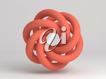 Torus knot. Abstract red object on white background with soft shadow. 3d rendering illustration