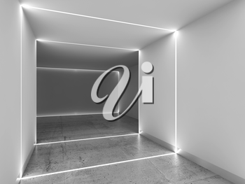 Abstract interior background with concrete floor, white walls and LED stripes illumination, 3d rendering illustration