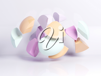 Abstract cg background with colorful fragments of broken sphere in white empty interior, 3d rendering illustration