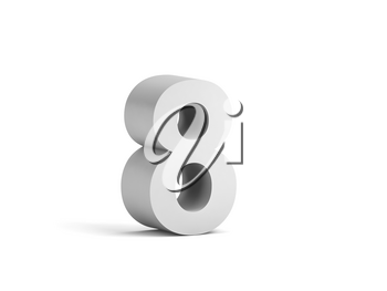 White bold digit 8 isolated on white background with soft shadow, 3d rendering illustration