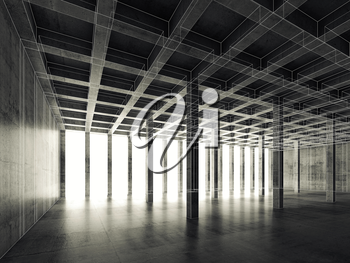 Abstract architecture background with perspective view of empty dark concrete room, 3d illustration, white wire-frame lines effect