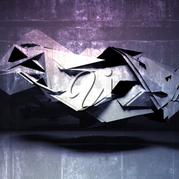 Abstract digital background, chaotic polygonal structure with concrete texture, 3d render illustration