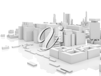 Abstract contemporary cityscape, 3d render illustration over white background with soft reflections over ground