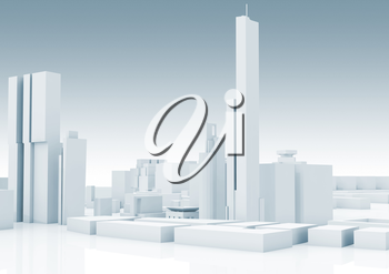 Abstract white modern cityscape skyline. Blue toned 3d render with glossy ground. Digital 3d render illustration