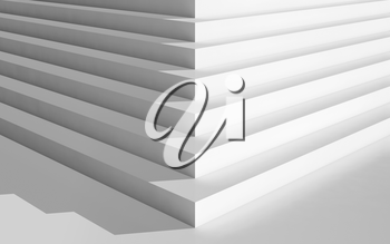 Abstract digital geometric background, corner of an empty white stairs, 3d illustration
